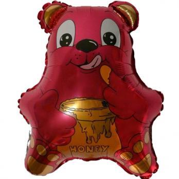 """Шар фигура фольга """"Медвежонок малиновый"""""""