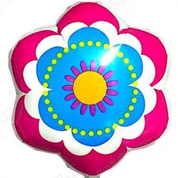 """Шар фигура фольга """"Цветок весенний розово-голубой"""""""