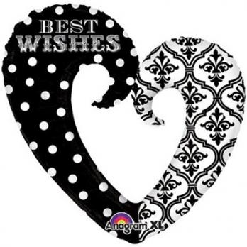 Шар фигура фольга Best wishes Сердце Вензель
