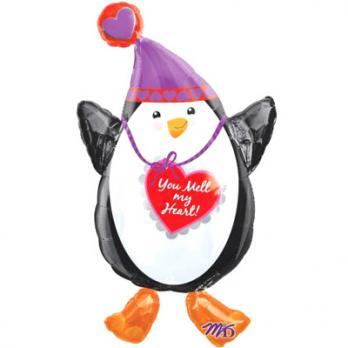 """Шар фигура фольга """"Пингвин с сердцем"""""""