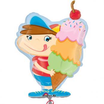 Шар фигура фольга Мальчик с мороженым
