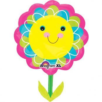"Шар фигура фольга ""Цветок улыбающийся желтый"""