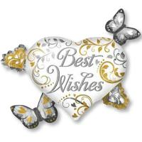 Шар фигура фольга Best Wishes Бабочки Сердца