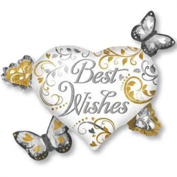 "Шар фигура фольга ""Best Wishes Бабочки Сердца"""
