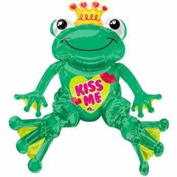 Шар фигура фольга Лягушка Kiss me сидячая
