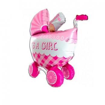 Шар фигура фольга Коляска детская розовая