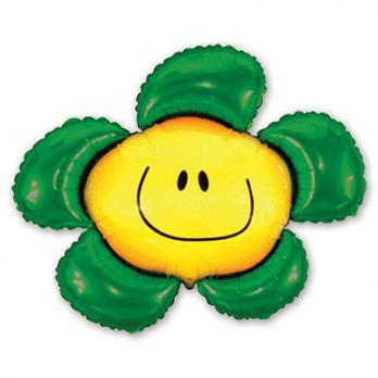 """Шар фигура фольга """"Цветок зеленый"""""""