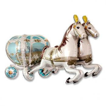 """Шар фигура фольга """"Карета свадебная с лошадьми"""""""