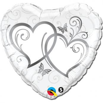 Шар фигура фольга Сердца переплетенные Серебро 90см