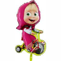 "Шар фигура фольга Маша на велосипеде"""
