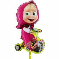 Шар фигура фольга Маша на велосипеде