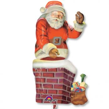 "Шар фигура фольга ""Санта в трубе"""