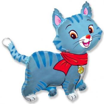 Шар фигура фольга Кошечка с шарфом голубая