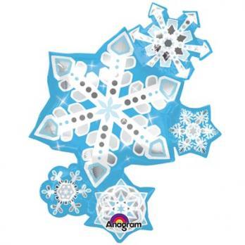 Шар фигура фольга Снежинки узорные