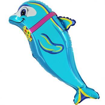 """Шар фигура фольга """"Дельфин с бабочкой"""""""