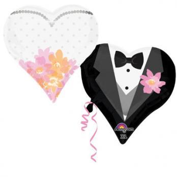 """Шар фигура фольга """"Сердца свадебные"""""""