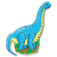 Шар фигура фольга Динозавр голубой