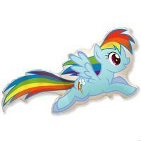 Шар фигура фольга Пони голубой