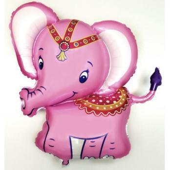Шар фигура фольга Слоник розовый