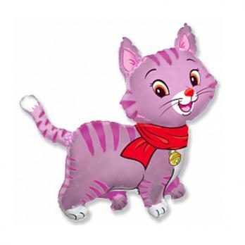 Шар фигура фольга Кошечка с шарфом розовая