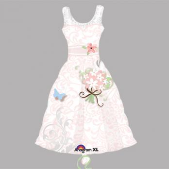 Шар фигура фольга Платье розовое