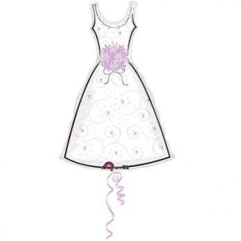 Шар фигура фольга Платье белое