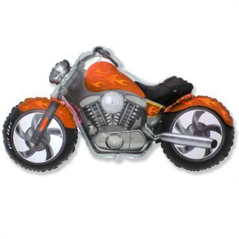 "Шар фигура фольга ""Мотоцикл оранжевый"""