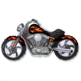 """Шар фигура фольга """"Мотоцикл черный"""""""