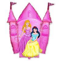 Шар фигура фольга Принцессы и Замок розовый