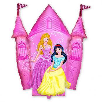 """Шар фигура фольга """"Принцессы и Замок розовый"""""""