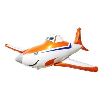 "Шар фигура фольга ""Самолет оранжевый"""