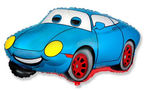 Шар фигура фольга Машина Тачка голубая