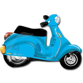 Шар фигура фольга Скутер синий