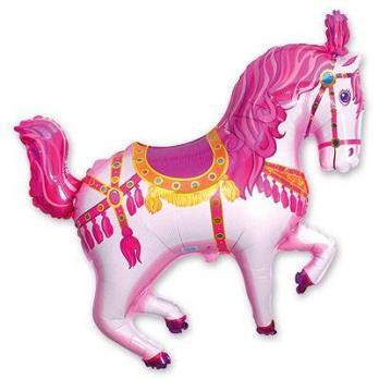 """Шар фигура фольга """"Лошадь цирковая розовая"""""""