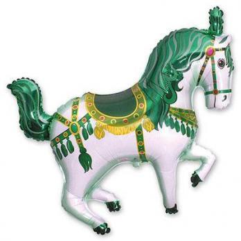 Шар фигура фольга Лошадь цирковая зеленая