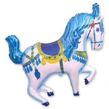 """Шар фигура фольга """"Лошадь цирковая голубая"""""""