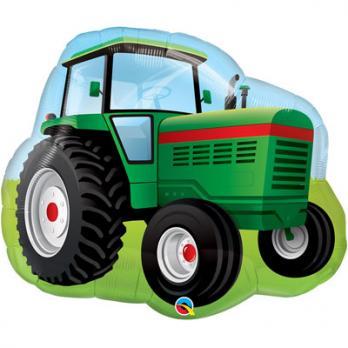 Шар фигура фольга Трактор зеленый