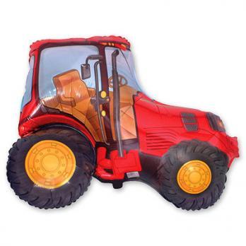 Шар фигура фольга Трактор красный