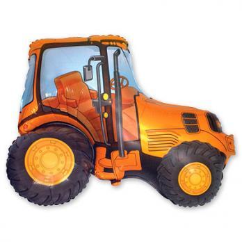 Шар фигура фольга Трактор оранжевый