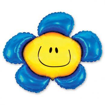 """Шар фигура фольга """"Цветок синий"""""""