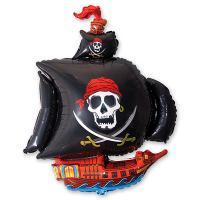Шар фигура фольга Корабль пиратский черный