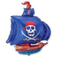 Шар фигура фольга Корабль пиратский синий