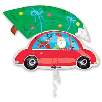 """Шар фигура фольга """"Санта на машине"""""""