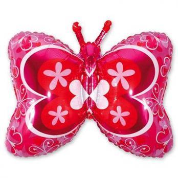 Шар фигура фольга Бабочка розовая