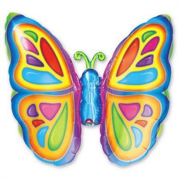 Шар фигура фольга Бабочка яркая