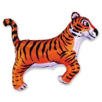 Шар фигура фольга Тигр черные полоски