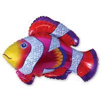 Шар фигура фольга Рыба пестрая красная