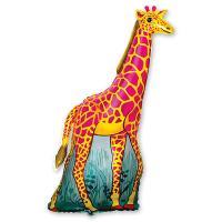 Шар фигура фольга Жираф оранжевый