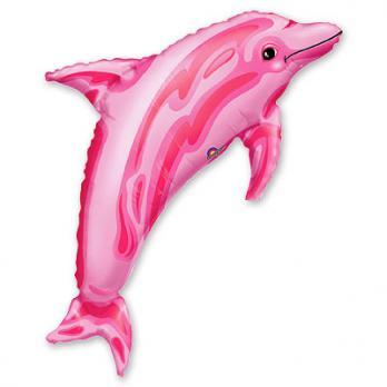 Шар фигура фольга Дельфин розовый