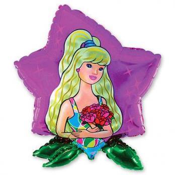 """Шар фигура фольга """"Девушка в цветке"""""""